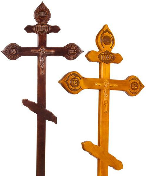 Крест сосна Фигурный с орнаментом