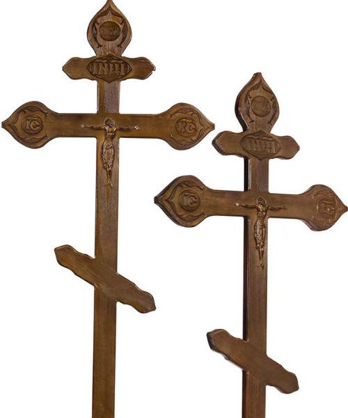 Крест сосна Фигурный с орнаментом состаренный