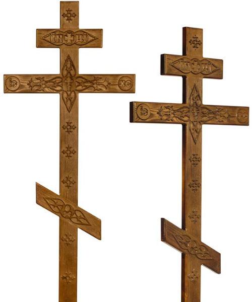 Крест сосна Прямой с декором состаренный