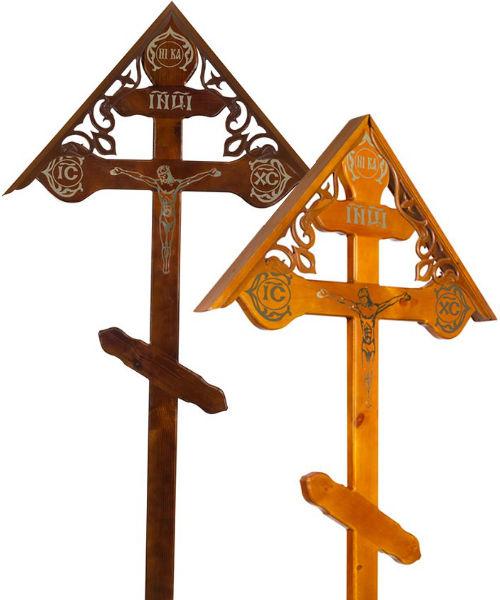 Крест сосна Фигурный с распятием и крышей