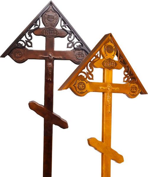Крест сосна Фигурный с орнаментом и крышей