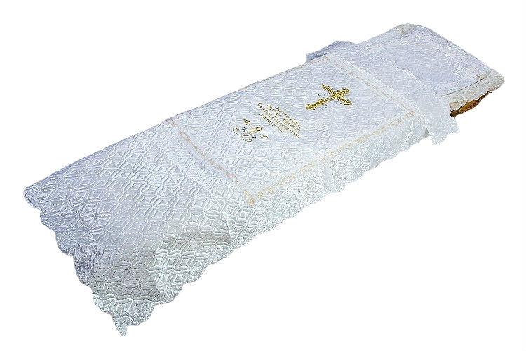Покрывало атлас с вышивкой Крест +наволочка