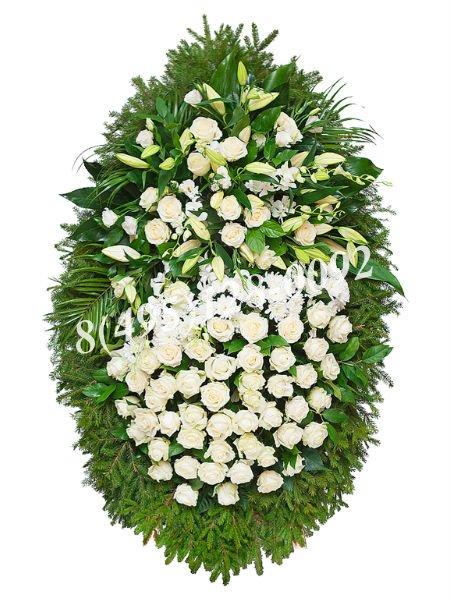 Венок из живых цветов №10