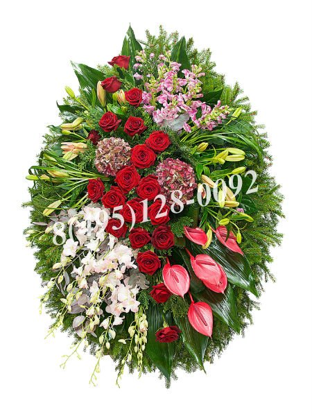 Венок из живых цветов №11